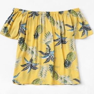 Tops - Yellow & Blue Pineapple Crop Shirt NWT